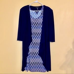 Navy Blue Patterned Midi Dress with Cardigan